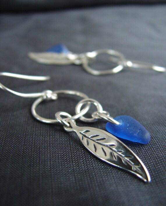 Boho Beach cobalt blue sea glass earrings