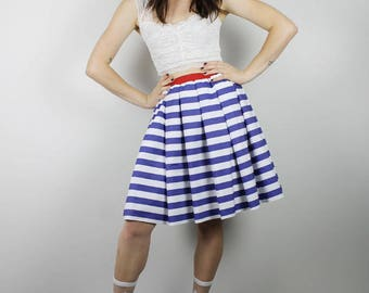 Short Blue Stripe Skirt,  Diy Red White Blue skirt, Handmade blue white stripe Skirt, Womens skirt, Diy Red White Blue Skirt, 4th July Skirt
