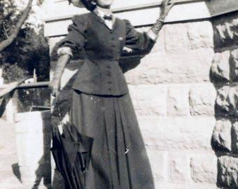 vintage photo 1909 Edwardian Young Beauty w Umbrella Tilts Head Sun Worship
