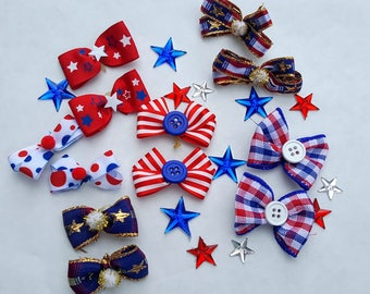Small puppy dog bows 12 bows 6pair  Patriotic Independence Day, 4th of July, Military, Red, White & Blue, Election Day, Memorial Day