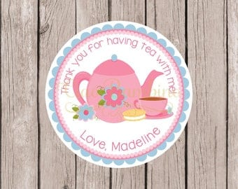Tea Party Birthday Party Favor Tags or Stickers / Pink and Blue Tea Party / Tea for Two / Tea Partea / Set of 12