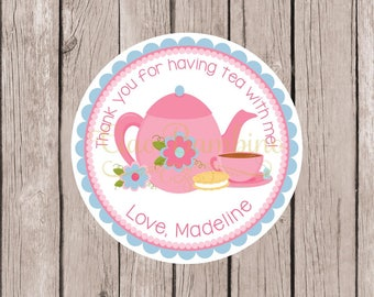 PRINTABLE Tea Party Birthday Party Favor Tags / Personalized Pink & Blue Tea Party Stickers or Tags / Tea for Two / Tea Partea / You Print
