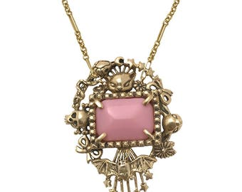Cat Skull Snake star necklace      pink stone flower deer bow silver gold wide Cornucopia