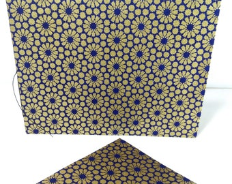 Handsewn Blank Card | Note card | Booklet with Inner Deckled Edge & Envelope | Washi Paper and Cotton Rag - blue and gold alhambra