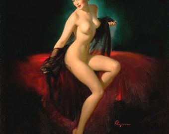 ELVGREN - UNVEILING 1940s NUDE Pin-Up - signed 12x18 Negligee Lingerie pinup see through Glamour pinup black negligee Vintage Pin-Up Giclee