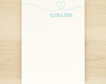 SMITTEN Personalized Notepad - Couples Wedding Heart Engagement Custom Letterhead