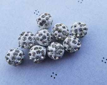 10mm Crystal Pave Clay Beads (5)