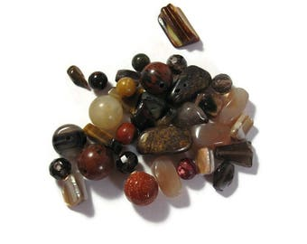 Brown Gemstone Bead Mix, Gemstone Grab Bag, 34 Beads for Making Jewelry, Assorted Shapes and Sizes (L-Mix6b)