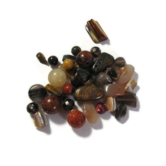 Brown Gemstone Bead Mix, Gemstone Grab Bag, 34 Beads for Making Jewelry, Assorted Shapes and Sizes (L-Mix20c1)