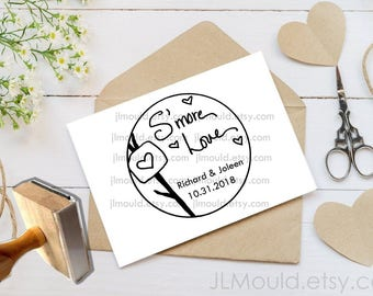 Custom Rubber Stamp featuring JLMould Smore Love S'mores Smores Wedding favors Personalized Stamp, Housewarming Return Address Stamp 1075