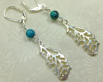 Real Turquoise Beads and Silver Plated Copper Feather Charms Lovely Dangle Earrings