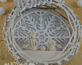 CHRISTMAS NATIVITY - PEACE - altered vintage silver coaster - ornament - NO078