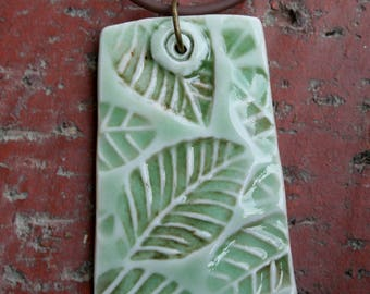 Celadon Green Leaves Porcelain Pendant | focal pendant | 2