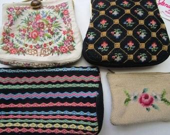 4 Needlepoint Tapestry Vintage Petit Purses Handbags Clutch Roses