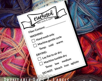 """Care Instruction Printable PDF Cards for Crocheters """"Crocheted with love and care"""" Tags for Handmade Crochet Crafts - Great for Craft Shows"""