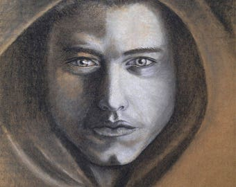 """Charcoal Drawing: """"It's How the Light Gets In"""". 8 x 8 inch Giclee of charcoal drawing of hooded man"""