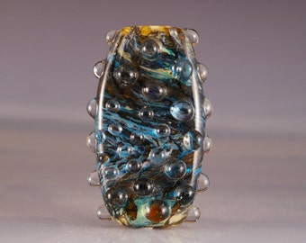 Lampwork Glass Focal Bead tab bead in blues and brown