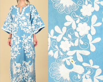 ViNtAgE 70's Mexican Embroidered Caftan // Peacock Artisan Made Floral Blue Chambray Maxi Hippie Dress // Birds // Free Size / XL