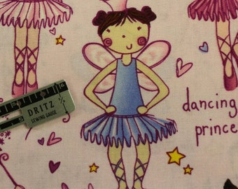 "Dancing Princess Ballerina 100% cotton fabric 42-44"" wide by Timeless Treasures"