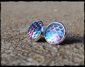 Purple Blue Mermaid Dragon Scale Cabochon Stud Earrings 15 mm - Ready to Ship - Fantasy Gothic Ariel Fish Scales Holographic
