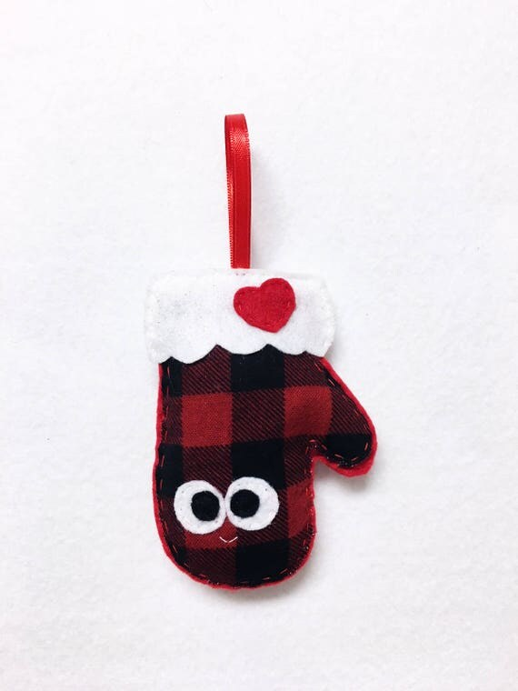 Limited Edition Mitten Ornament, Buffalo Plaid Mitten, Christmas Ornament, Matilda the Mitten - Made to Order, Secret Santa Gift