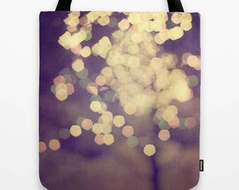 festive lights photography fabric tote bag-market tote-school carry all tote bag- affordable Christmas gift idea for her