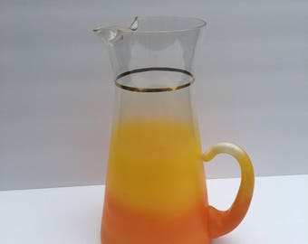 Frosted Pitcher Two Tone Orange and Yellow Mid Century Frosted Blendo Style MCM Water Cocktail Martini Pitcher