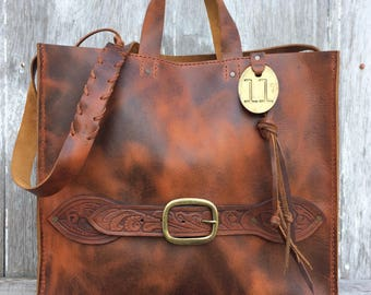 Handmade Leather Tote in Autumn Harvest Leather by Stacy Leigh