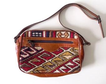 Embroidered Leather Vintage Tapestry Shoulder Bag