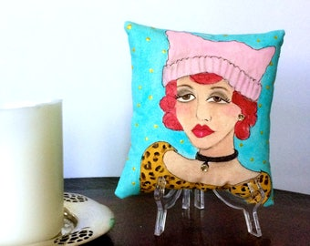 WOMENS MARCH PILLOW, hand painted pillow, empowered woman pillow, pink pussy hat, womens quote, 5 in X 5 in, gift for her, Resist gift