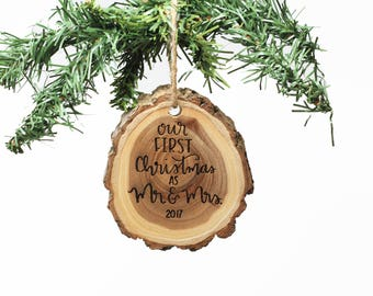 Our First Christmas, Mr and Mrs, Engraved Wood Ornament, Custom Wood Ornament, Personalized Wood Ornament, Newlywed Gift --60047-OR16-007