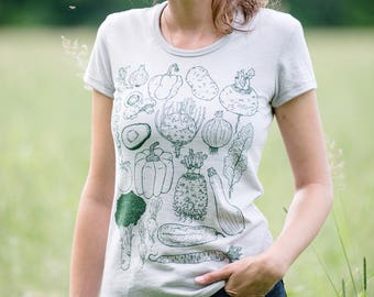 Vegetables Tee - Womens cut - Soft grey