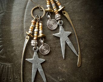 Stars, Inviciti, Artisan Made, Celestial, Daggers, Rustic, Romantic, Vintage charms, Silver, Brass, Organic, Earthy, Beaded Earrings