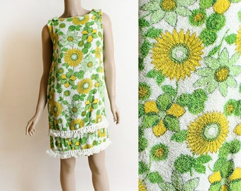 Vintage 1960s Dress - Daisy Print Floral Towel Dress - Beach Pool Cover Up - Terri Cloth Fringe Mini Dress - Lime Green Lemon Yellow - Small