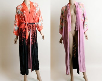 Vintage 1940s Reversible Kimono - Floral Print Orange Black with Blush Pink Purple and Pastel - 40s Japanese Silk Crepe Robe Jacket