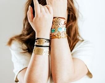 Brass Suede Leather Wrap Bracelet   Monstera Leaf, Honeycomb, Moon, Eye, Polkadot Bar