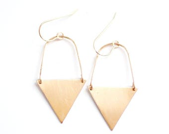 Geometric Arch Triangle Earrings | Brass Earrings | 14k Gold Fill Earrings | Sterling Silver Earrings | Geometric Earrings