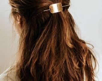 Hammered Bar Hair Clip | Brass Hair Slide Accessory | Hammered Hair Pin | Silver Hair Clip | Gold Hair Clip | Hair Accessories