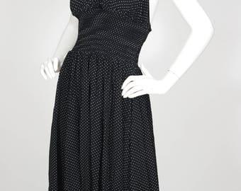 Algo 1970s Vintage Glam Black Polka-Dot Halter Neck Dress Sz XXS XS