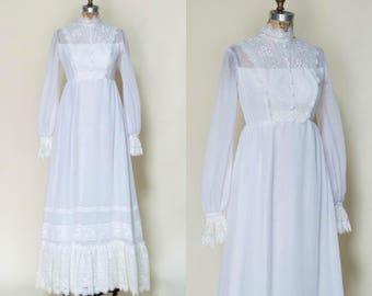 1970s Gunne Sax Style Wedding Dress --- Vintage White Wedding Gown