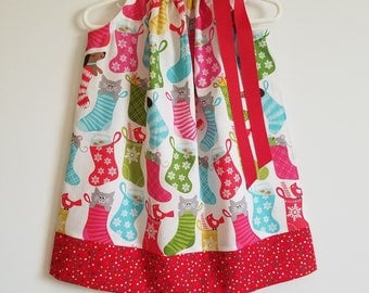 Christmas Dress Pillowcase Dress Girls Dresses for Christmas Holiday Dress with Pets in Stockings Dogs and Cats Christmas Clothes