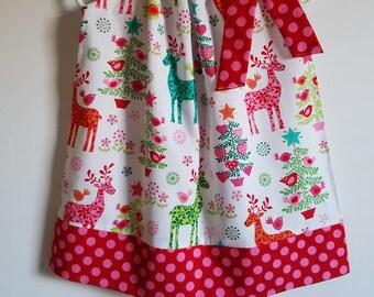 Christmas Dress Pillowcase Dress with Deer Nordic Holiday Dress Michael Miller Reindeer Dress Girls Dresses toddler dresses baby dresses