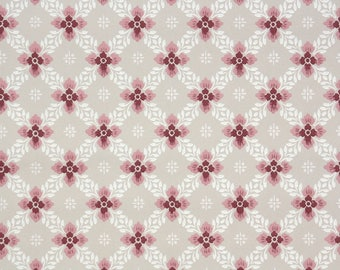 1940s Vintage Wallpaper by the Yard - Pink Beige and White Geometric Wallpaper
