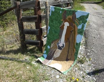 A Horse With No Name - horse applique quilt, art quilt, wall hanging, equestrian wall quilt, pony quilt, horse art, equestrian art