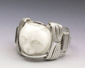 Carved Bone (bovine) Cat Cameo Sterling Silver Wire Ring - Made to Order and Ships Fast!