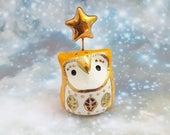 Orange Owl Sculpture with Gold Stars