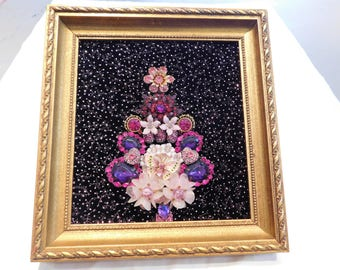 Vintage Jewelry Christmas Tree ART Tree PInks Purples Unique & Whisical Art with Butterfly