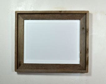 "Rustic style picture frame with 9"" x 12"" white mat complete ready to ship 20 mat colors available"
