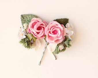 Pink rose hair clips, Vintage millinery flowers, Floral hair pin set, Pink bridal hair clips, Bobby pin pink rose, Bridal up-do flowers