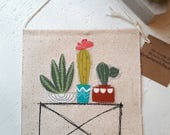 Cactus Succulents Plants Canvas Banner wall hanging plant plant stand pottery embroidery